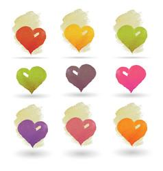 Watercolor hearts set vector