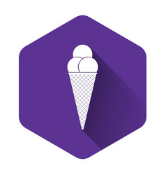 white ice cream in waffle cone icon isolated with vector image