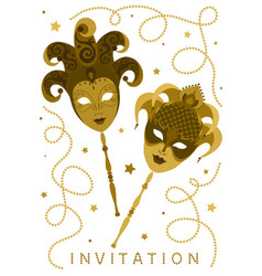 white vertical invitation card with golden masks vector image
