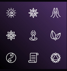 yoga icons line style set with yoga mandala vector image