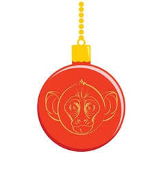 Christmas ball with a picture of a monkey vector image vector image