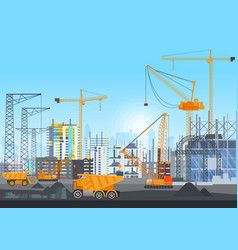 city skyline buildings construction under vector image vector image