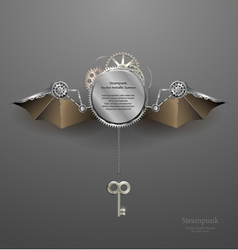 industrial metallic banner with wings and key vector image