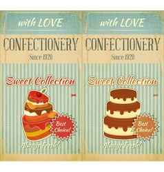 Set of Retro Menu with Cake vector image vector image