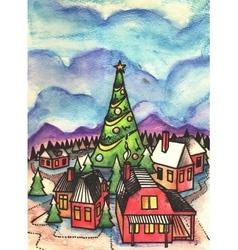 Snowy winter day Artistic landscape watercolor vector image vector image