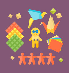 themed kids origami creativity creation symbols vector image