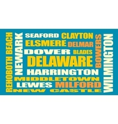 delaware state cities list vector image