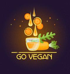 go vegan card cartoon style carrot drops glass vector image vector image