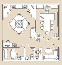 Office interior top view architecture plan vector