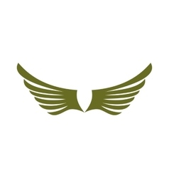 Two green wing birds icon flat style vector image vector image