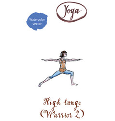 young woman practicing yoga asana virabhadrasana vector image