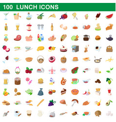100 lunch icons set cartoon style vector image