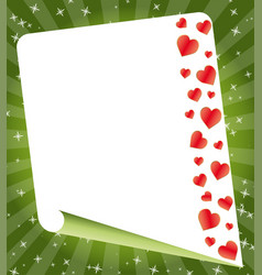 blank paper rolled with hearts vector image