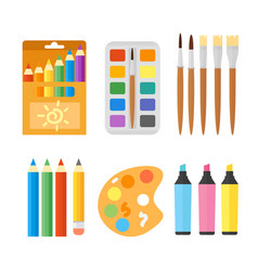 colored engineering paints and pencils vector image vector image