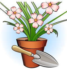 garden shovel and window plant vector image