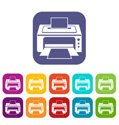 printer icons set vector image vector image
