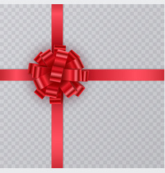 realistic gift ribbon red bow of on transparent vector image