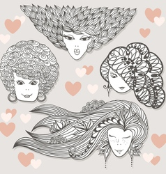Sketches of girls with different hairstyles vector image vector image
