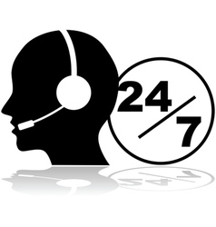 Support 24 hours a day and seven days a week vector image vector image