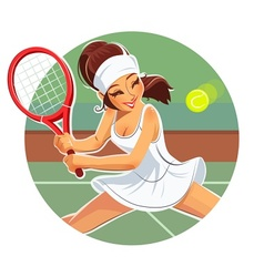 Beautiful girl play tennis vector image