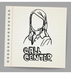 Doodle girl call center operator vector