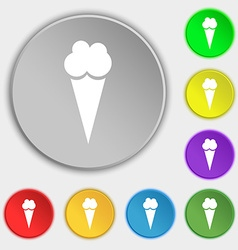 Ice Cream icon sign Symbol on eight flat buttons vector image vector image
