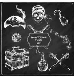 Pirates chalkboard icons set vector image