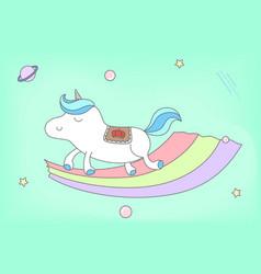 proud male unicorn walking on rainbow vector image vector image