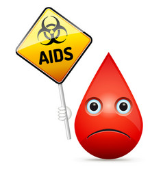 the sad drop of blood with yellow aids virus vector image vector image