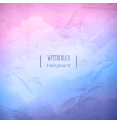 Watercolor cloudy sky background vector image vector image