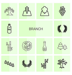14 branch icons vector
