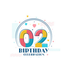 2 birthday celebration modern 2nd birthday design vector