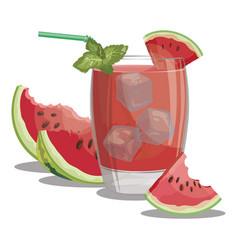 a glass fresh watermelon juice vitamin vector image