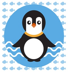 Abstract with a baby penguin on blue water vector image