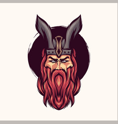 awesome bearded viking logo design vector image