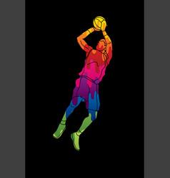 Basketball player jumping and prepare shooting a b vector
