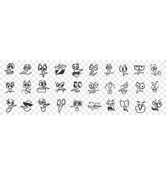 birds face hand drawn doodle set vector image