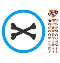 Bones cross icon with dating bonus vector