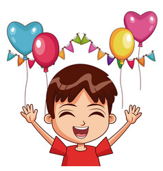 boy on birthday with balloons and pennants vector image