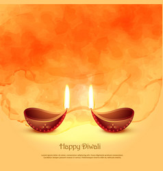 Burning diya lamps for diwali festival greeting vector