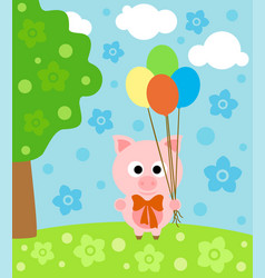 cartoon background with funny pig vector image