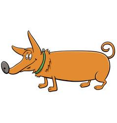 Cartoon dog in collar funny animal character vector
