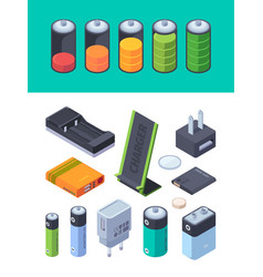 charging stages battery levels for different vector image