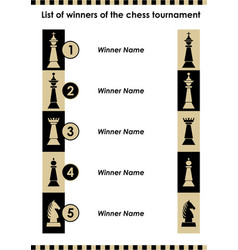 chess tournament winner list with chess pieces vector image