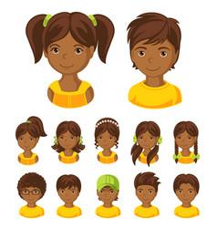 Children face set vector