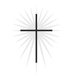 christian symbol black thin cross with lighting vector image