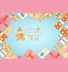 Christmas calligraphy background gifts as frame vector