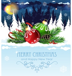 Christmas decorations in winter forest vector