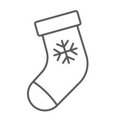 christmas stocking thin line icon christmas vector image