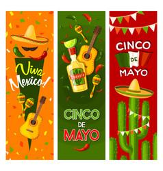 cinco de mayo mexican fiesta party greeting banner vector image vector image